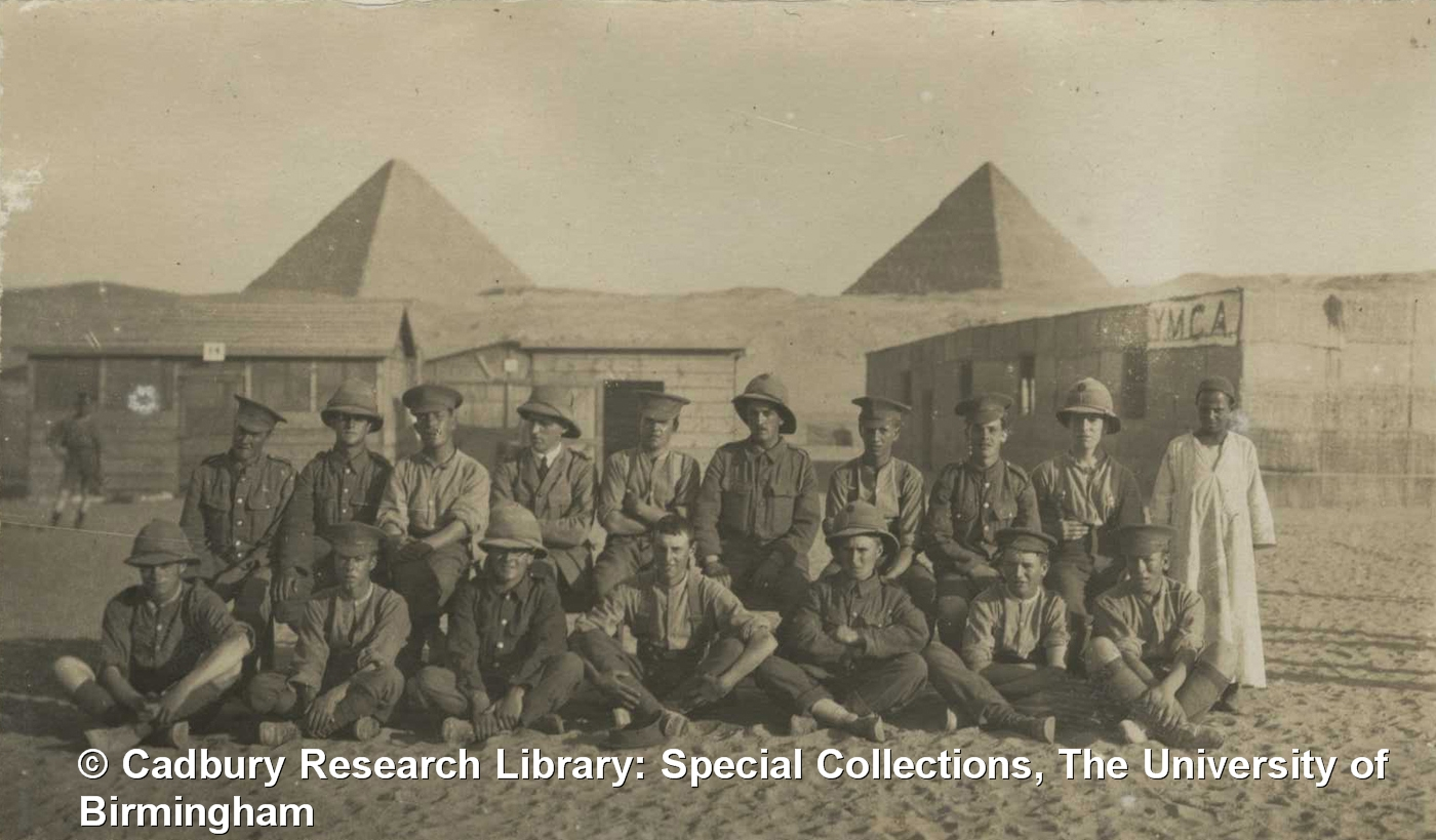 Allied soldiers outside a YMCA hut, Mena Camp, Egypt