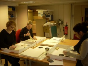 Volunteers and Staff cleaning the Case Files