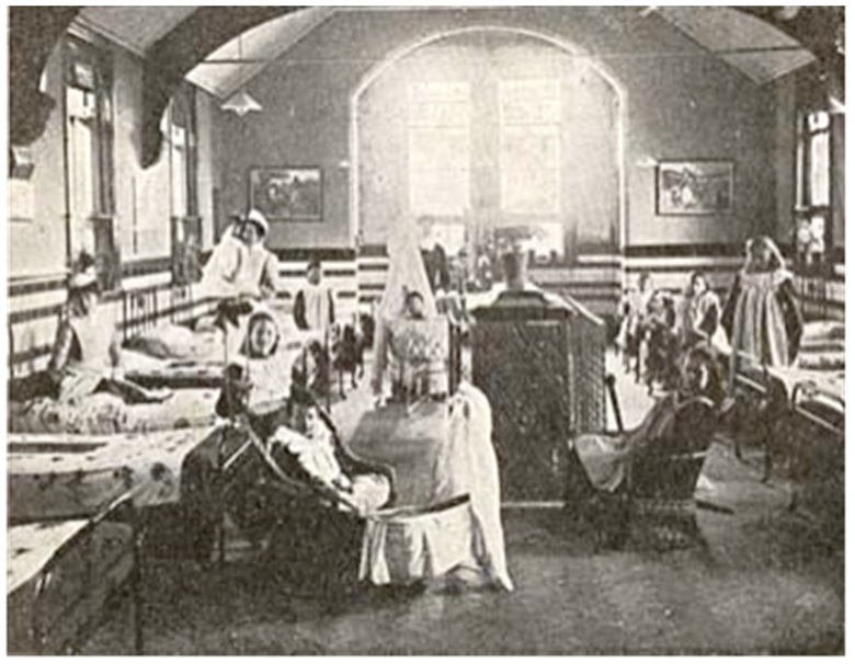 The dormitory at the Bradstock Lockett Home, c.1910. Reproduced from Hidden Lives