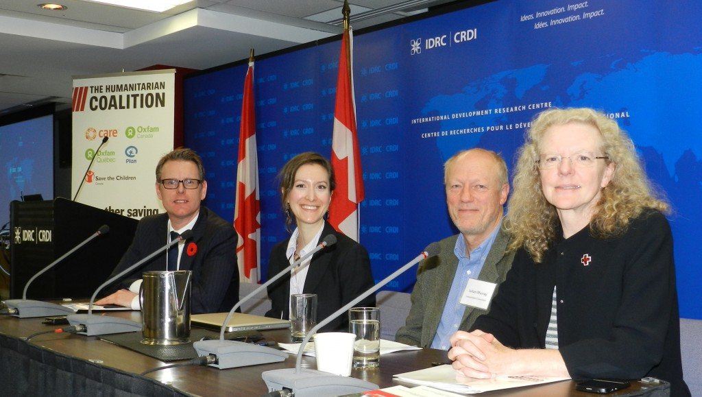 "Panel on  ""Violence, Vulnerability and Protection in Humanitarian Response""  From left to right : John de Boer, International Development Research Centre; Elyse Leclerc-Gagné, University of British Columbia; Julian Murray, Independent Consultant; and Susan Johnson, Canadian Red Cross.  Credit : MJ Proulx, Humanitarian Coalition, 2013"