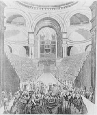 Religion and social status played large roles in the history of philanthropy in the City. The London Charity-School Children in St. Paul's Cathedral (1789).