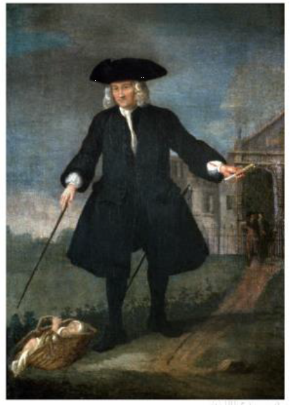 Thomas Coram reportedly established the Foundling Hospital after witnessing the abandonment of an infant
